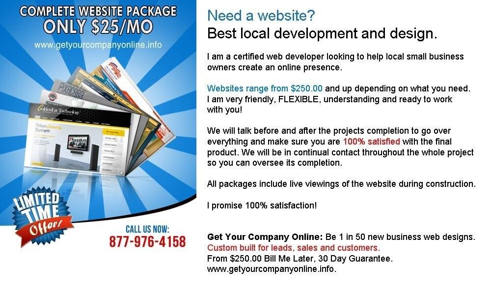 Business websites starting at $250.00